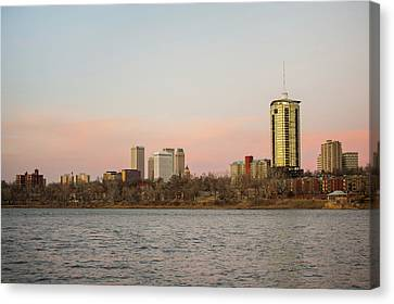 Waters Under The Tulsa Skyline - Color Canvas Print by Gregory Ballos