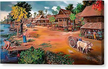 Waterside Town Community Canvas Print