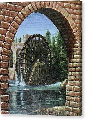 Canvas Print featuring the painting Waterwheels  by Laila Awad Jamaleldin