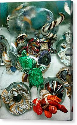 Turtle Shell Canvas Print - Watery Emerald Turtles by Kirk Wieland