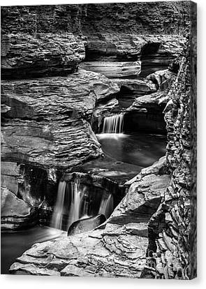 Watkins Glen Gorge Waterfall Black And White Canvas Print by Edward Fielding
