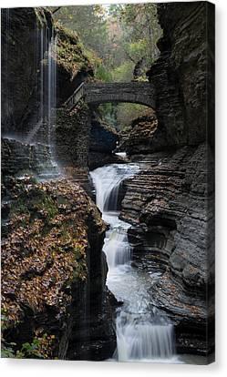 Canvas Print featuring the photograph Watkins Glen Rainbow Falls by Joshua House