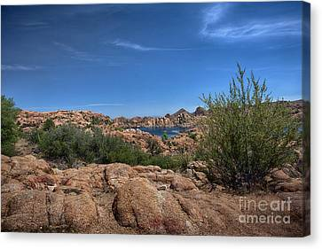 Watson Lake And The Granite Dells Canvas Print by Anne Rodkin