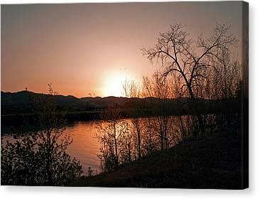 Watson Lake At Sunset Canvas Print by James Steele