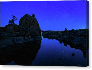 Watson Lake Moonshine Canvas Print by Janet Ballard