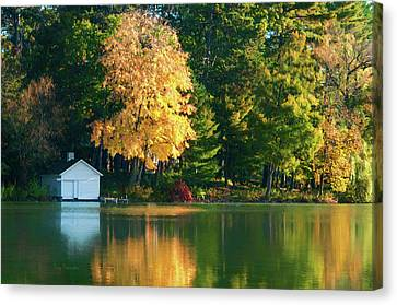 Waupaca Chain Boathouse Canvas Print by Trey Foerster