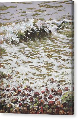 Canvas Print featuring the painting Wave And Colorful Pebbles by Martin Davey