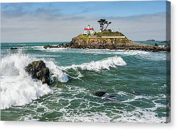 Canvas Print featuring the photograph Wave Break And The Lighthouse by Greg Nyquist