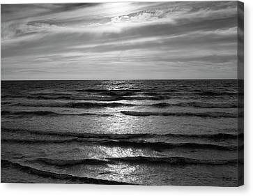 Canvas Print featuring the photograph Wave Upon Wave I Bw by David Gordon