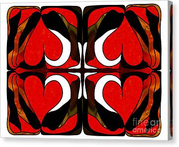 Wavering Hearts Abstract Bliss Art By Omashte Canvas Print by Omaste Witkowski