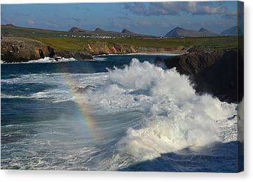 Waves And Rainbow At Clogher Canvas Print by Barbara Walsh