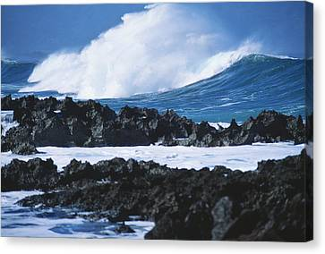 Waves And Rocks Canvas Print by Kyle Rothenborg - Printscapes