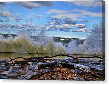 Waves And Wind On A Fall Day Canvas Print