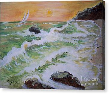 Waves Ashore Canvas Print by Carol Grimes