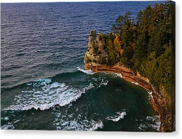 Waves At Miners Castle Canvas Print