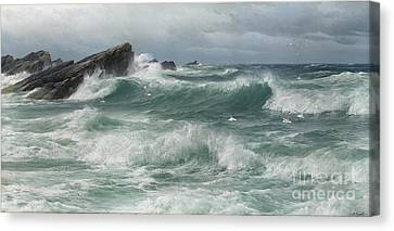 Waves Breaking On A Rocky Coast Canvas Print by Celestial Images