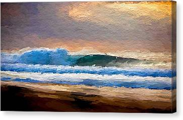 Waves By The Shore Canvas Print by Anthony Fishburne