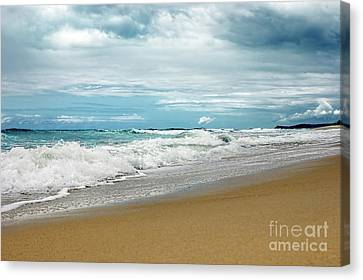 Canvas Print featuring the photograph Waves Clouds And Sand By Kaye Menner by Kaye Menner
