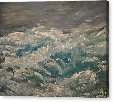 Canvas Print featuring the painting Waves by Evelina Popilian