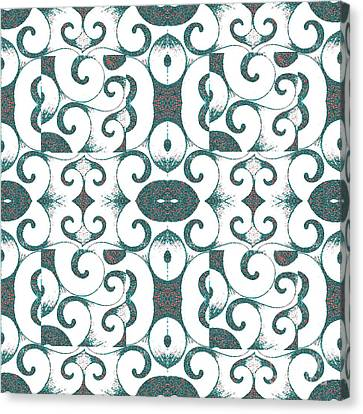 The Nature Center Canvas Print - Waves Inverted In White, Red And Green by Helena Tiainen