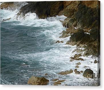 Waves Lashing Rocks Canvas Print
