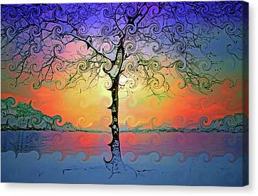Waves Of Colour And Light Canvas Print