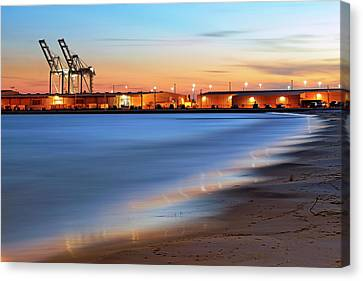 Canvas Print featuring the photograph Waves Of Industry - Gulfport Mississippi - Sunset by Jason Politte