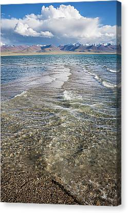 Canvas Print featuring the photograph Waves Of Namtso, Tibet, 2007 by Hitendra SINKAR