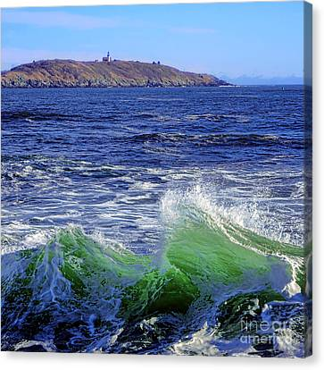 Ledge Canvas Print - Waves Off Seguin Island by Olivier Le Queinec