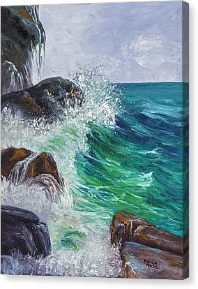 Canvas Print featuring the painting Waves On Maui by Darice Machel McGuire