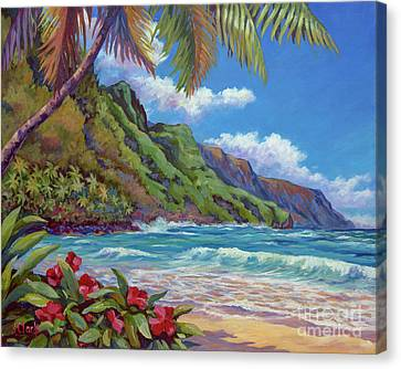 Waves On Na Pali Shore Canvas Print by John Clark