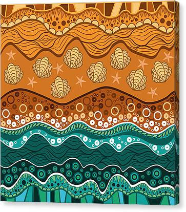 Light Canvas Print - Waves by Veronica Kusjen