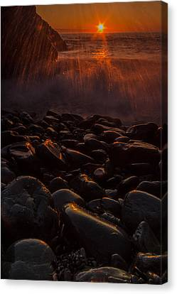 Waves And Sunrise Canvas Print by William Sanger
