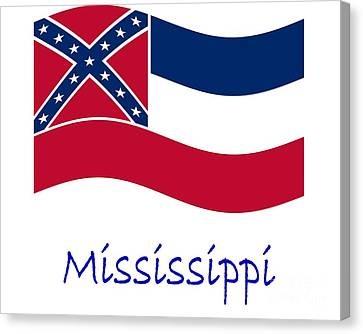 Waving Mississippi Flag And Name Canvas Print