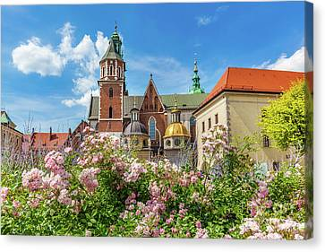 Medieval Temple Canvas Print - Wawel Cathedral, Cracow, Poland. View From Courtyard With Flowers. by Michal Bednarek