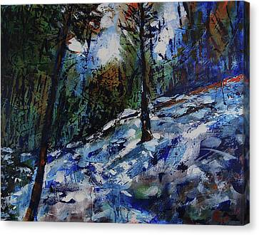 Canvas Print featuring the painting Way Of The Mono Trail by Walter Fahmy