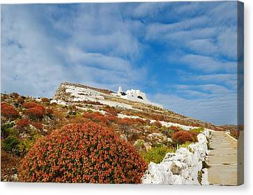 Panagia Canvas Print - Way To The Top. Folegandros, One Of The Islands In The Cyclades by Yuri Hope
