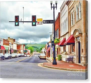 Canvas Print featuring the photograph Wayne Avenue - Downtown Waynesboro Virginia - Art Of The Small Town by Kerri Farley
