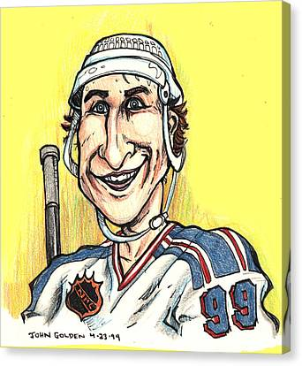 Wayne Gretsky Caricature Canvas Print by John Ashton Golden
