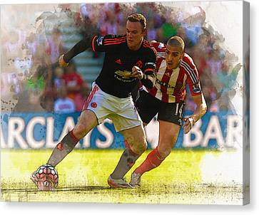 Wayne Rooney Is Marshalled Canvas Print by Don Kuing