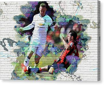 Wayne Rooney Canvas Print - Wayne Rooney Street Art by Don Kuing