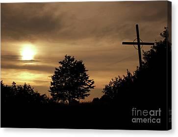 Wayside Cross Canvas Print - Wayside Cross In The Dusk by Michal Boubin