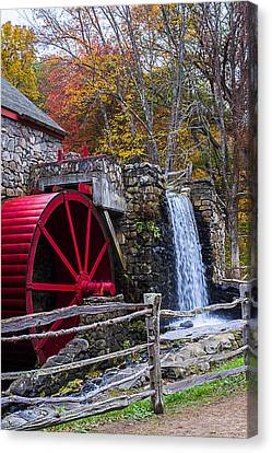 Wayside Inn Grist Mill Canvas Print - Wayside Inn Grist Mill Autumn Sudbury Ma by Toby McGuire