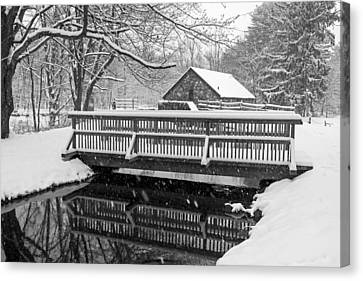 Wayside Inn Grist Mill Canvas Print - Wayside Inn Grist Mill Covered In Snow Bridge Reflection Black And White by Toby McGuire