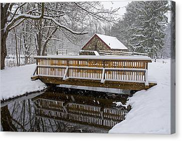 Sudbury Ma Canvas Print - Wayside Inn Grist Mill Covered In Snow Bridge Reflection by Toby McGuire