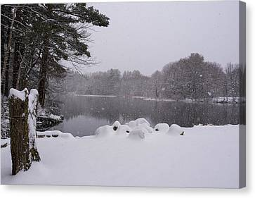 Sudbury Ma Canvas Print - Wayside Inn Grist Mill Covered In Snow Storm Pond by Toby McGuire