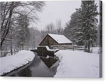 Sudbury Ma Canvas Print - Wayside Inn Grist Mill Covered In Snow Storm Reflection by Toby McGuire