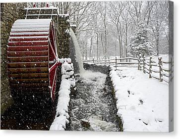 Wayside Inn Grist Mill Canvas Print - Wayside Inn Grist Mill Covered In Snow Storm Side View by Toby McGuire