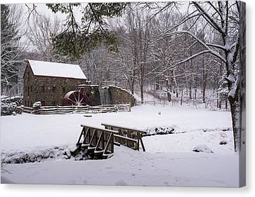 Wayside Inn Grist Mill Canvas Print - Wayside Inn Grist Mill Covered In Snow by Toby McGuire