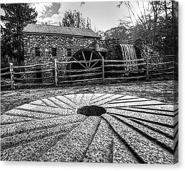 Wayside Inn Grist Mill Canvas Print - Wayside Inn Grist Mill Millstone Black And White by Toby McGuire